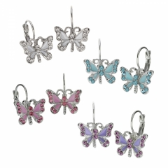 epoxy and Austrian Crystal leverback butterfly earrings