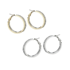 AUSTRIAN CRYSTAL IN-&-OUT HOOPS 1 1/8""