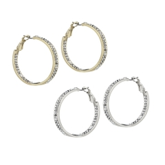 AUSTRIAN CRYSTAL IN-&-OUT HOOPS 1 1/2""
