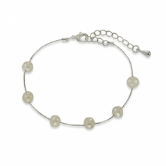 dainty freshwater pearl tin cup bracelet
