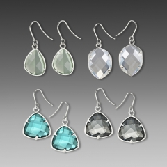frosted stone 1 drop earrings