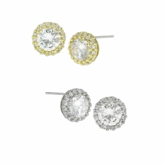 Cubic Zirconia post earrings with CZ pave halo