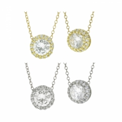Cubic Zirconia necklace with CZ pave halo
