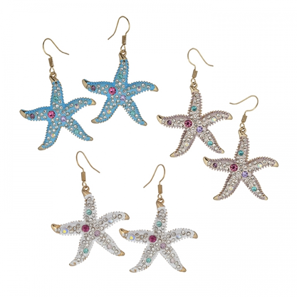 Large Starfish Epoxy Austrian Crystal Dangle Earrings