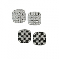 CHECKERBOARD POST EARRINGS