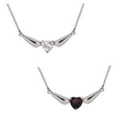 CUBIC ZIRCONIA HEART NECKLACE WITH ANGEL WINGS
