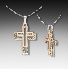tri-tone cross necklace