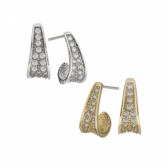 mini pave cubic zirconia hoop earrings